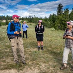 Brian Welsley sharing Meadowlark call Photo by Pat Morrow